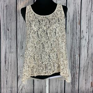 Daytrip Lace and Sequined Top M